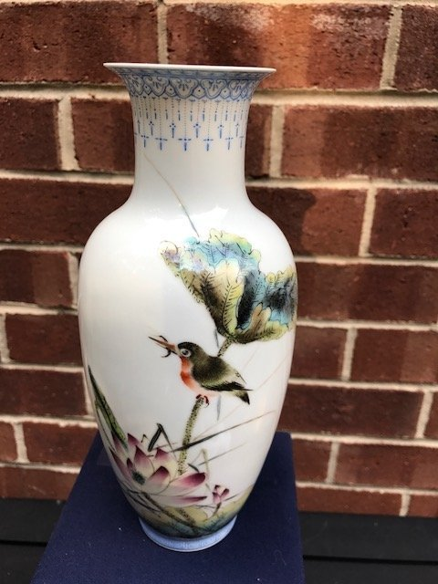 Antique Chinese Egg shell vase painted by Liu Yucen