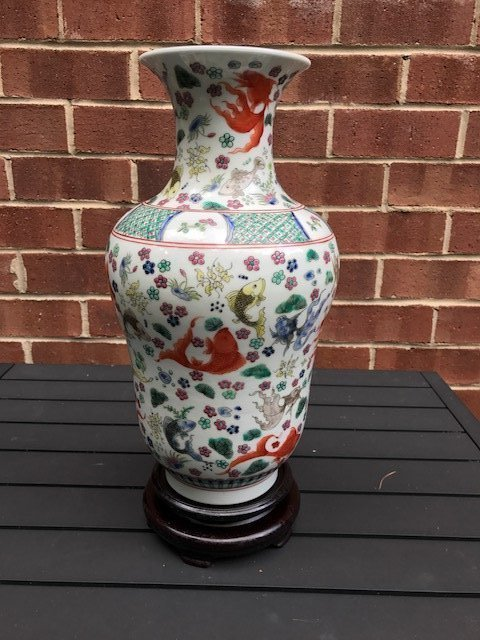 Antique Chinese Wucai Vase with Fish Design