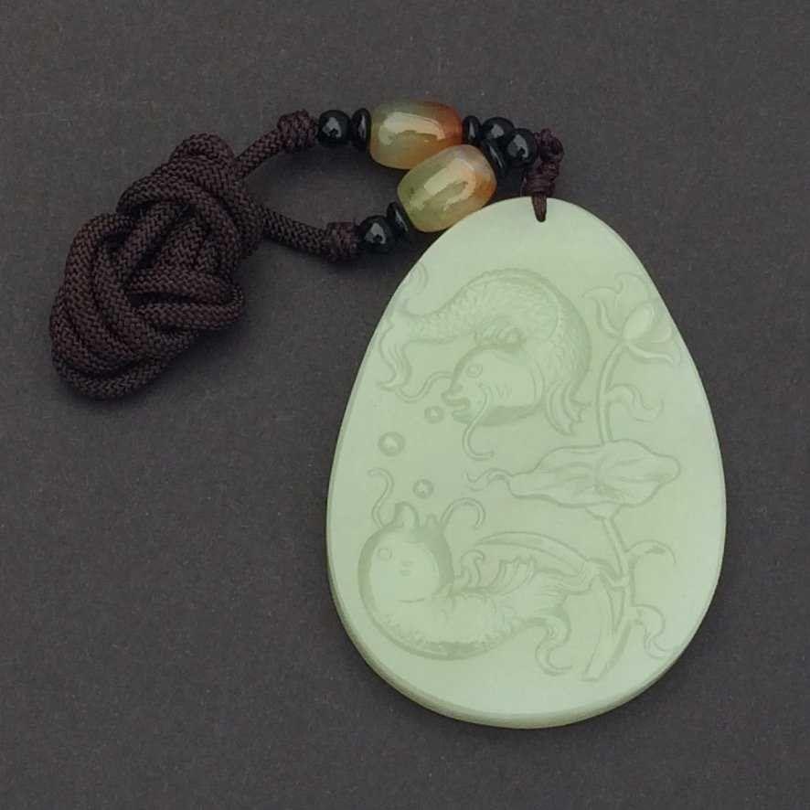 Certified Carved Double Fish Hetian Jade Pendant