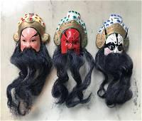 Three Old Hand Made Peking Opera Masks