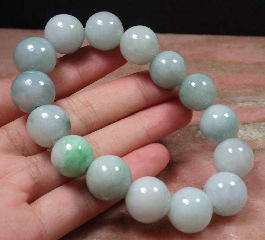 "Chinese Certified Natural ""A"" Jadeite Bead Bracelet"
