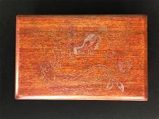 Antique Chinese Carved Rosewood Scholars Box