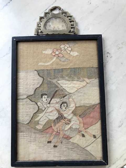 Chinese Antique Framed Kesi Painting w White Jade Inlay