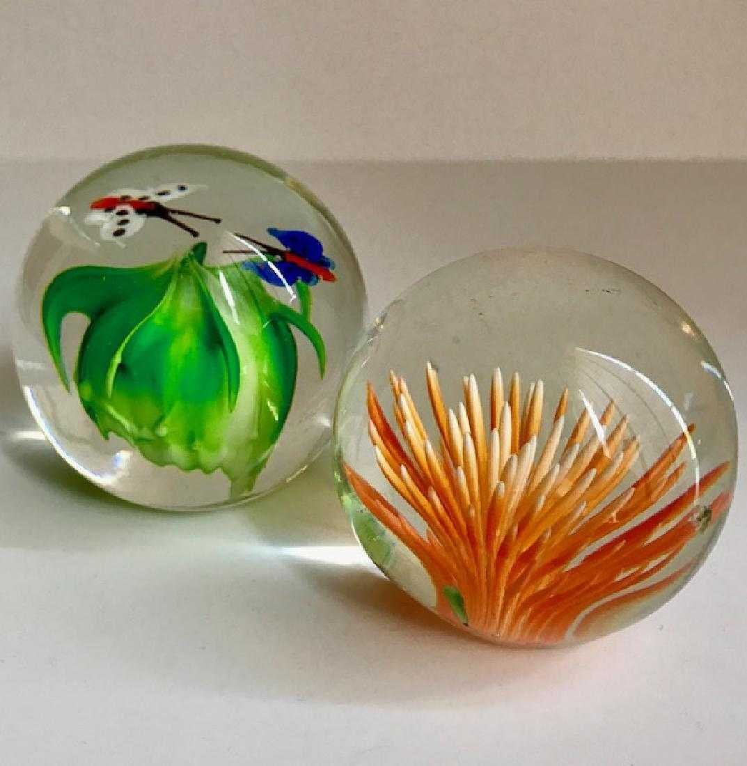Lot of 2 MURANO Art Glass Paperweights