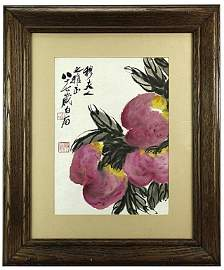 CHINESE FRAMED PAINTING OF PEACH