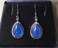 Burmese Blue Jade and 925 Sterling Silver Earrings