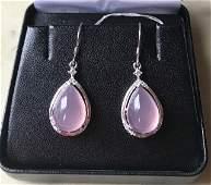 Burmese  Purple Jade and 925 Sterling Silver Earrings