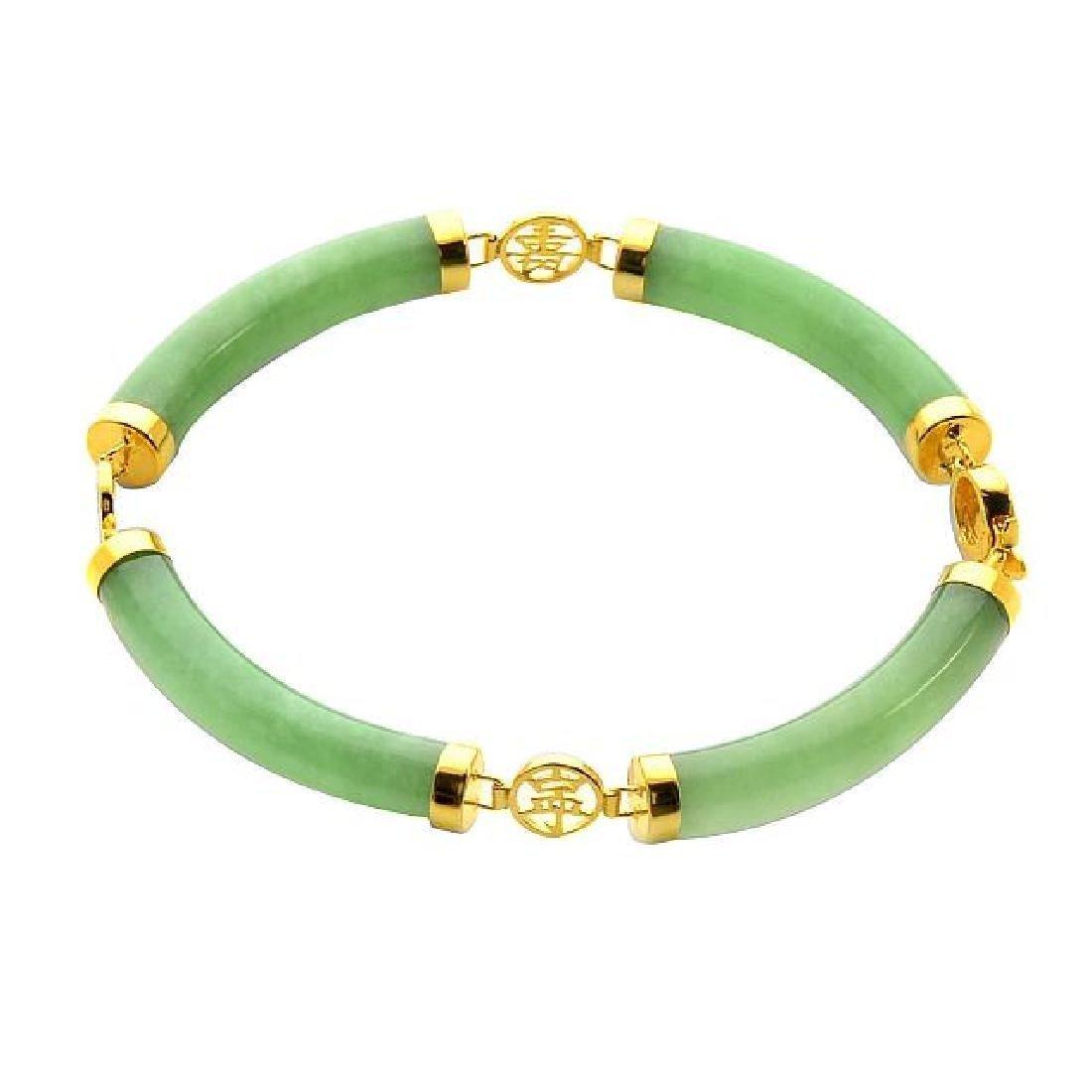 """18K over Sterling Silver 7"""" Green Jade Bracelet"""