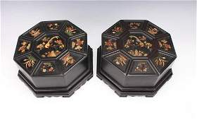 PAIR OF OCTAGONAL QING DYNASTY ZITAN BOXES