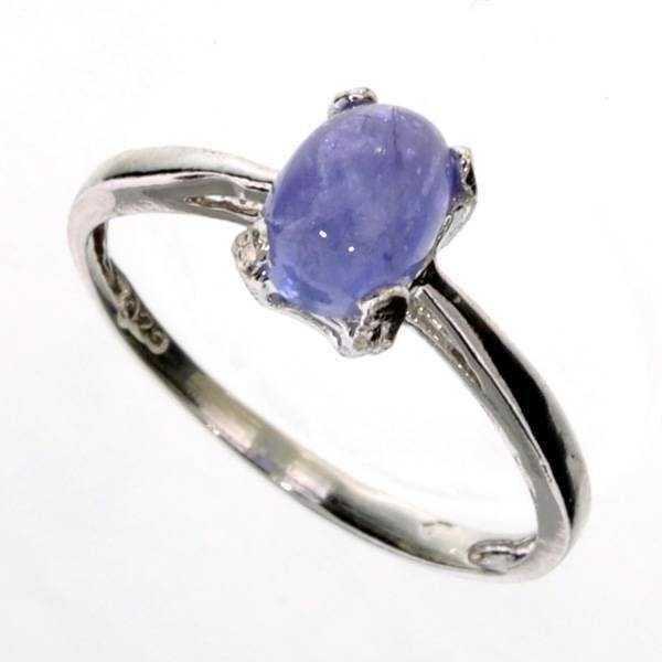 Certified 1CT Oval Cut Cabochon Tanzanite & Silver Ring