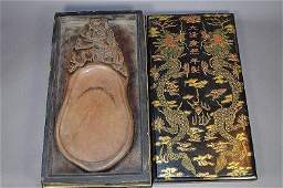 Qing Dynasty Duan Inkstone in Hand Painted Lacquer Box