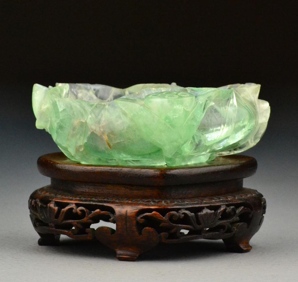 Chinese Qing Carved Quartz Brush Washer 清朝