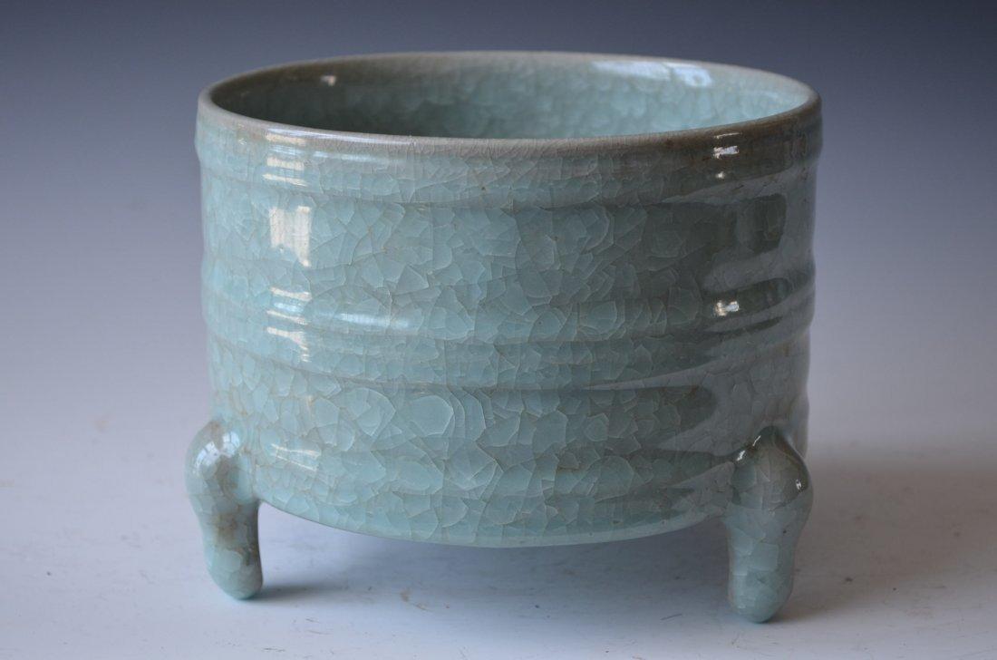 Chinese Ruyao Tripod Porcelain Censer 汝窑