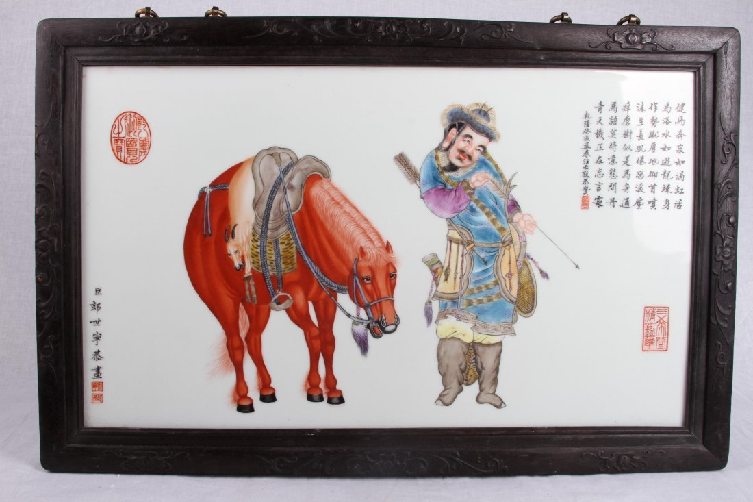 LANGSHINING FRAMED PORCELAIN PAINTING 郎世