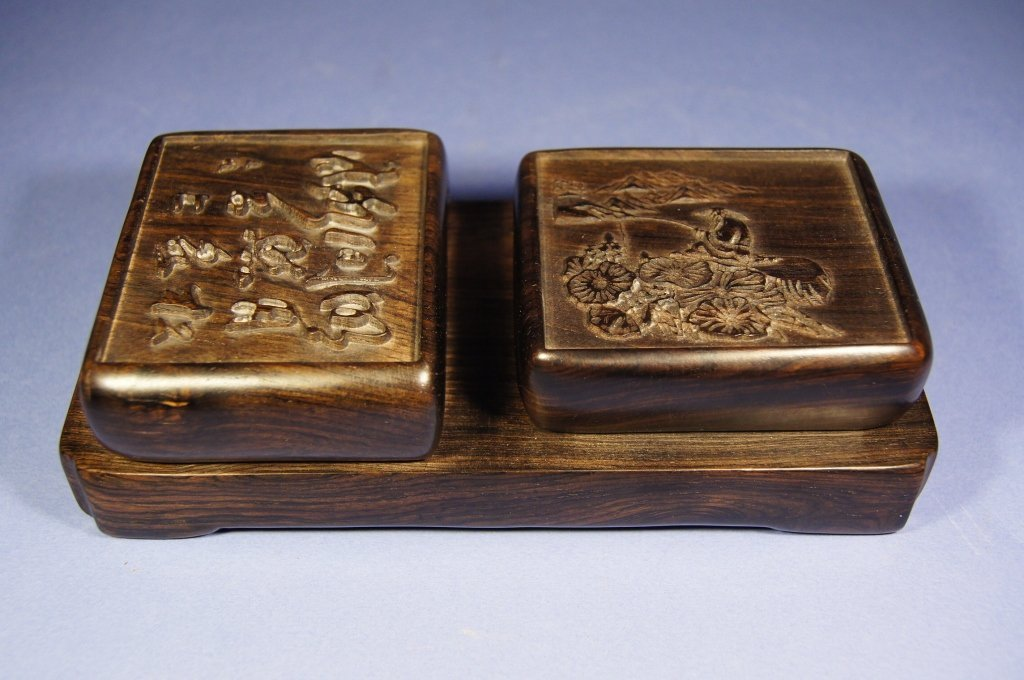 Chinese antique huanghuali carved seal ink Box