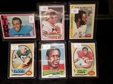 LOT OF 6 VINTAGE NFL FOOTBALL CARDS STARS AND HOF