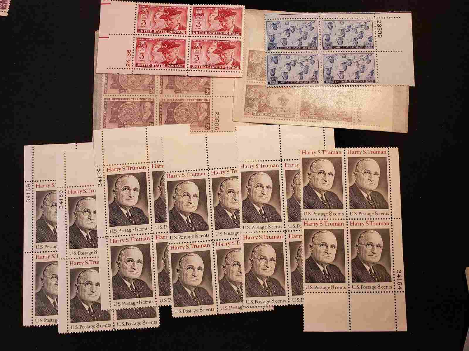 UNITED STATES POSTAGE STAMPS LOT OF 10 U.S. MINT PLATE
