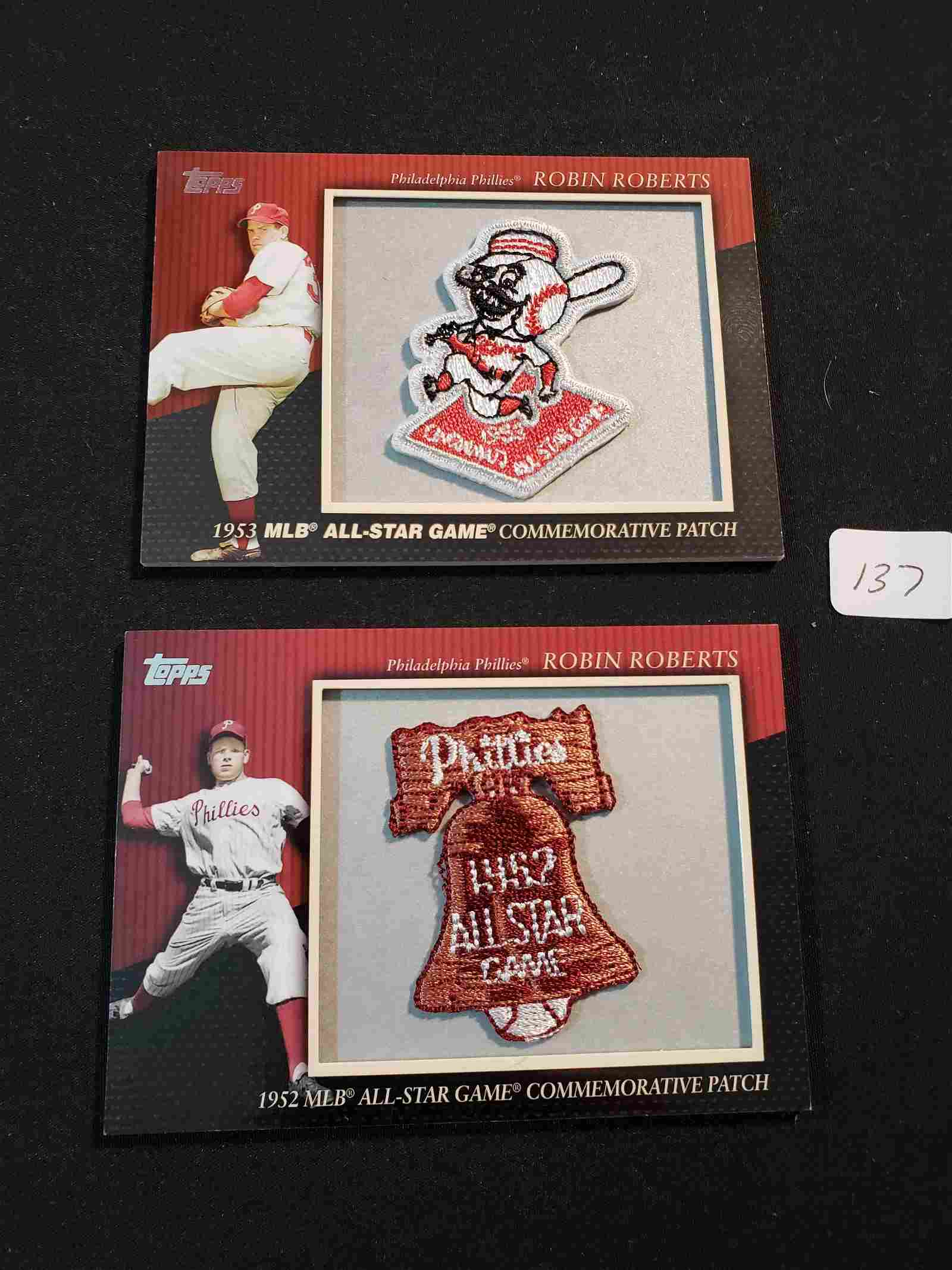 ROBIN ROBERTS 1952/1953 ALL-STAR GAME PATCH CARDS