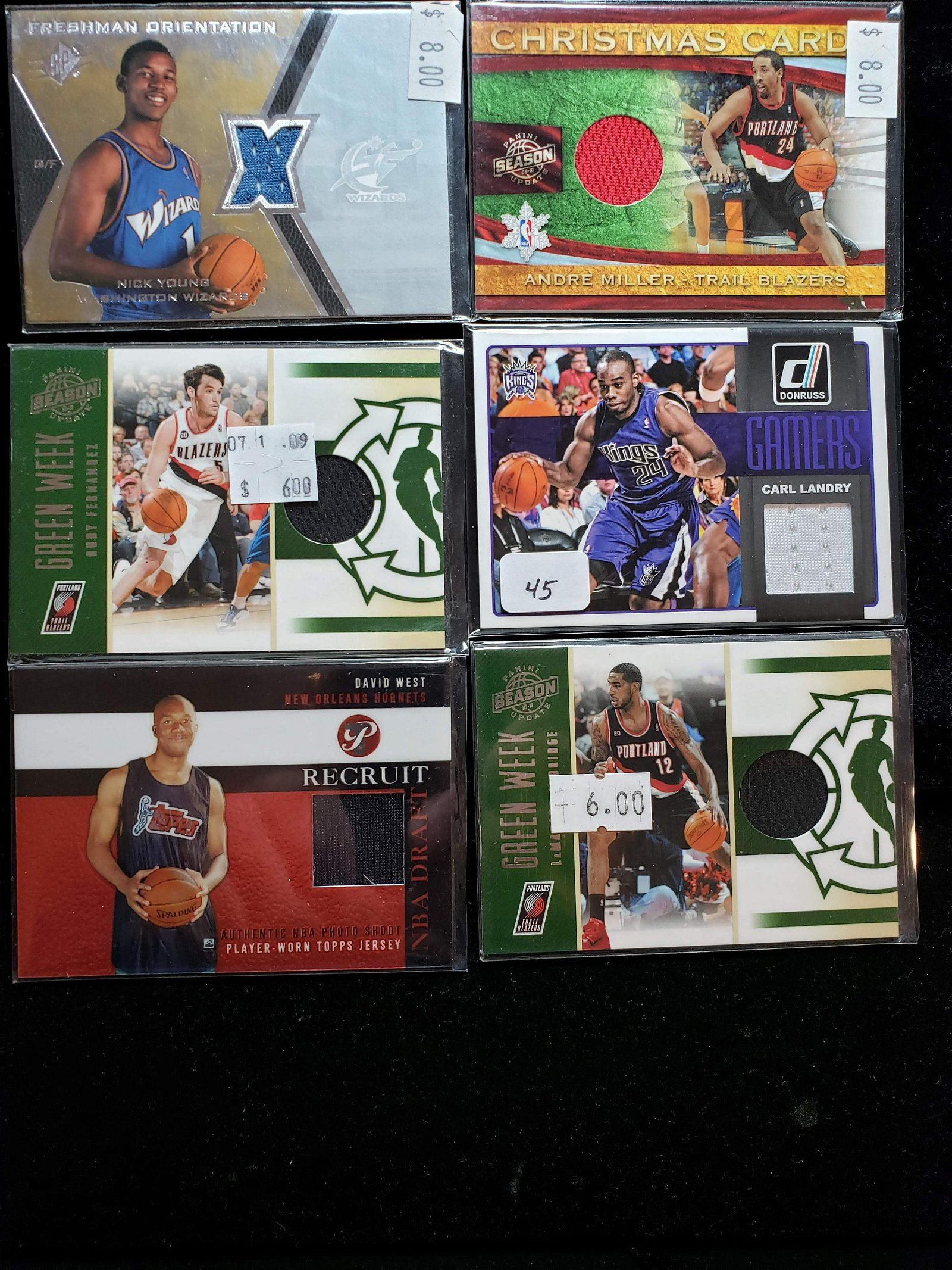 LOT OF 6 NBA BASKETBALL GAME USED RELIC CARDS