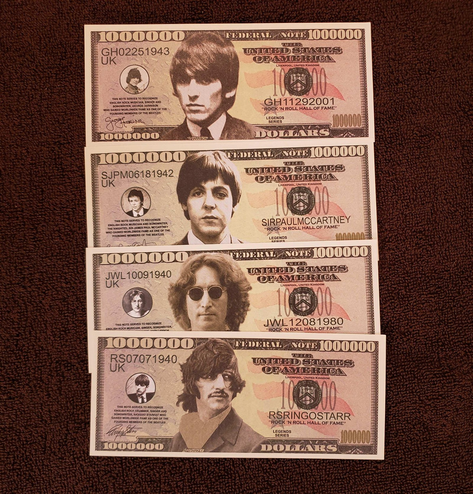 BEATLES FANTASY CURRENCY NOTES