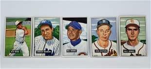 LOT OF 5 1951 BOWMAN BASEBALL CARDS