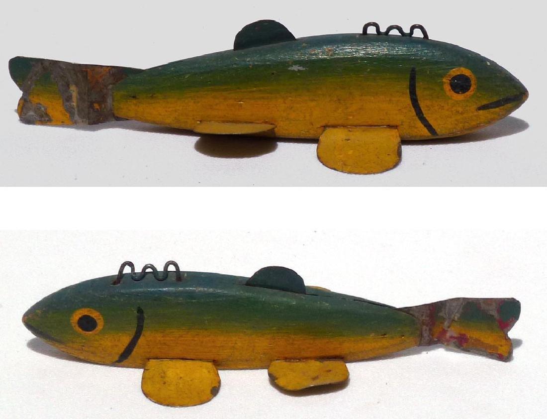 Folk Art painted used, fish decoy. Mid-20th c. or