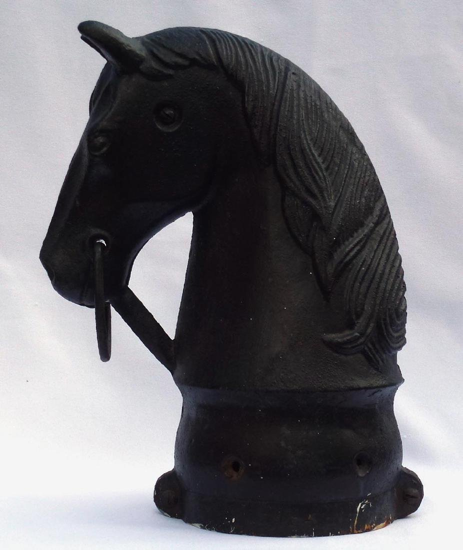 Old, Large, cast iron horse head hitching post