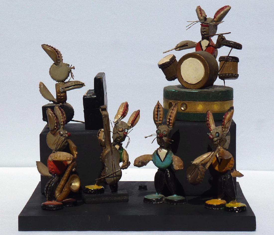 Folk Art rabbit musicians made from bottle caps