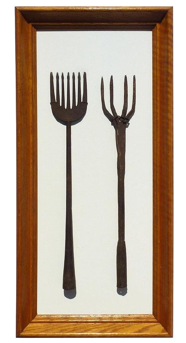 Framed set of 2, 19th c.  wrought iron eel spears .
