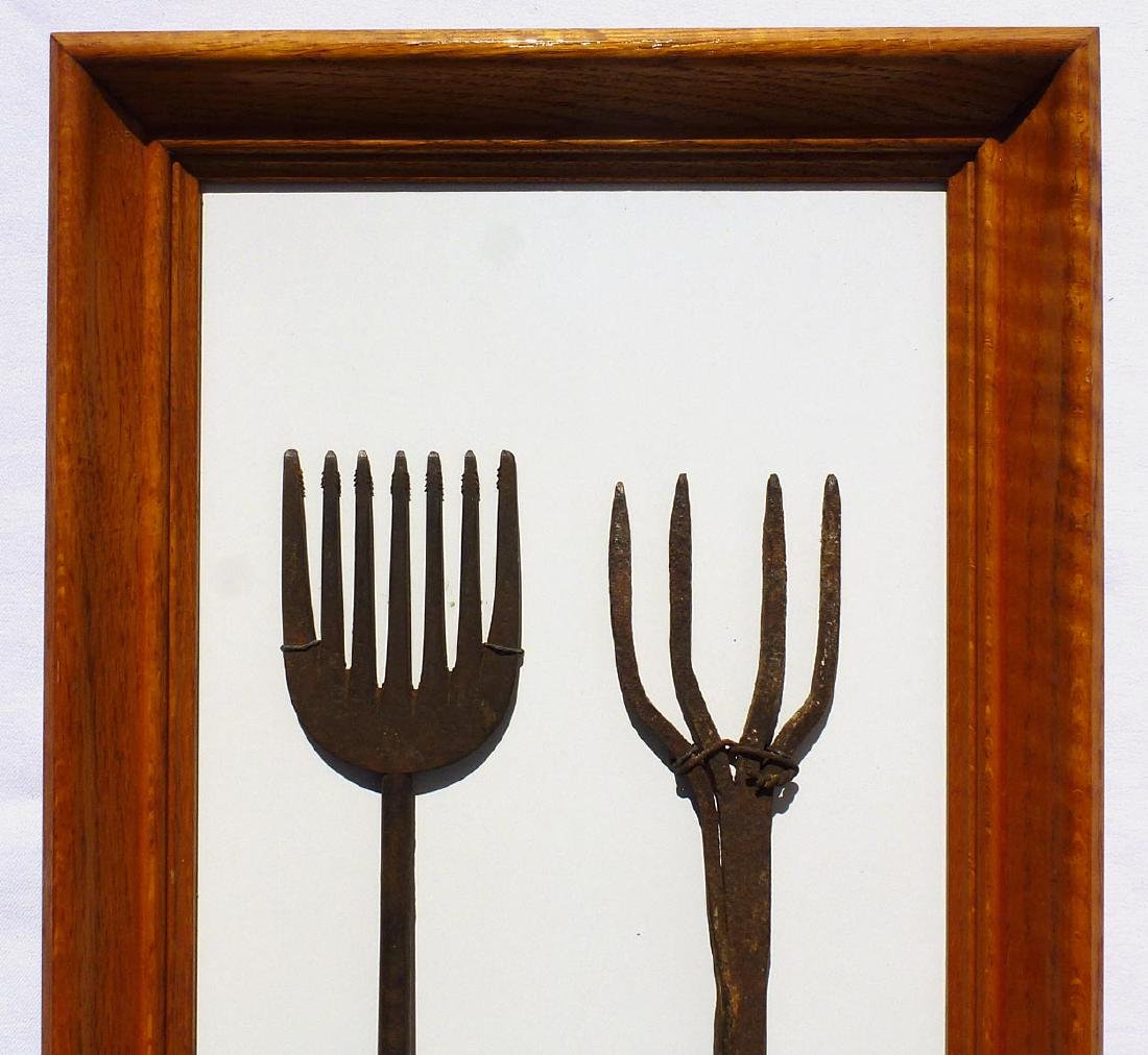 Framed set of 2, 19th c.  wrought iron eel spears . - 2