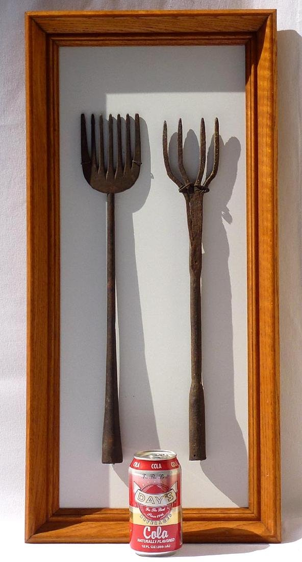 Framed set of 2, 19th c.  wrought iron eel spears . - 4