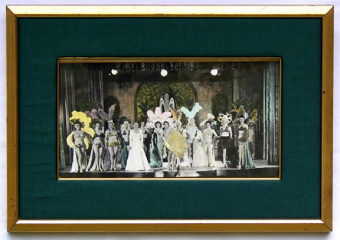 Hand Colored photo burlesque can-can fan dancers