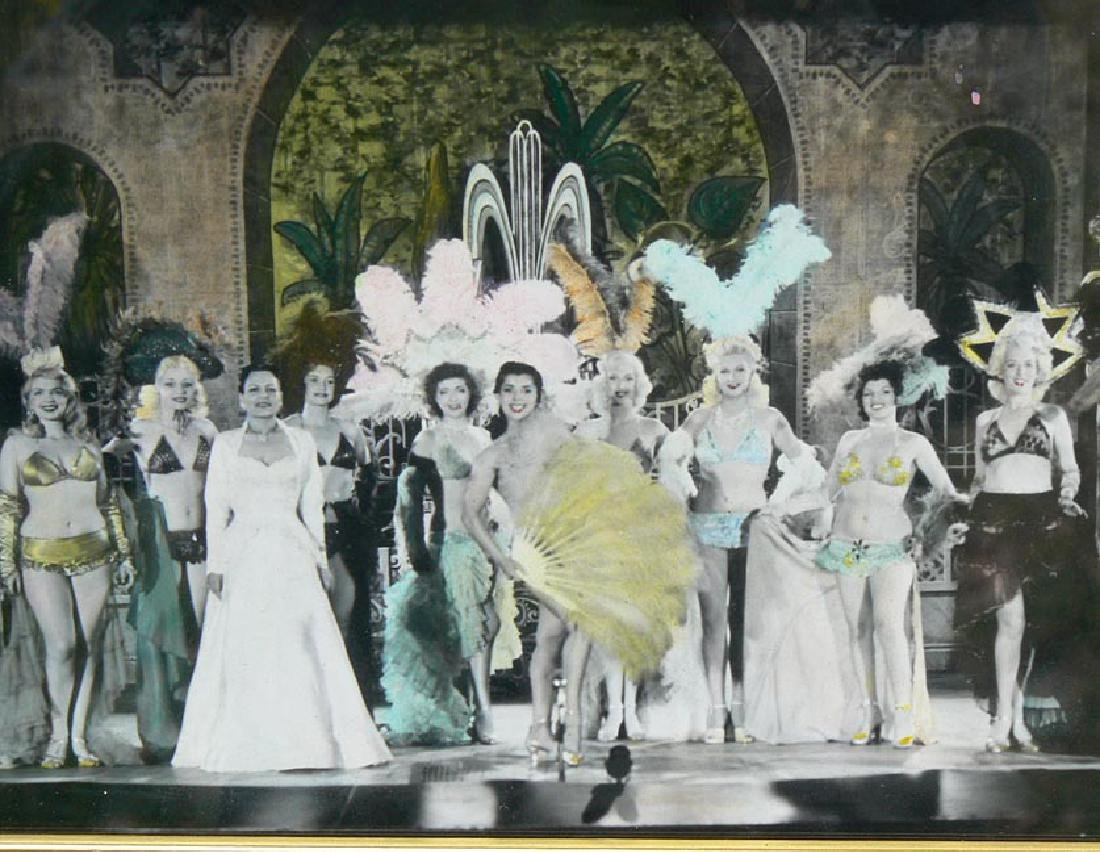 Hand Colored photo burlesque can-can fan dancers - 2