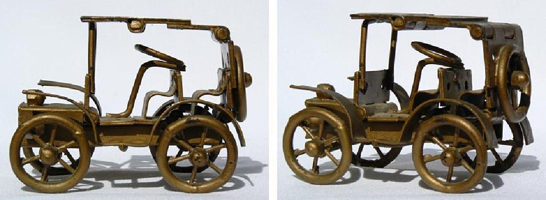 Small Folk Art metal model of an antique car - 4