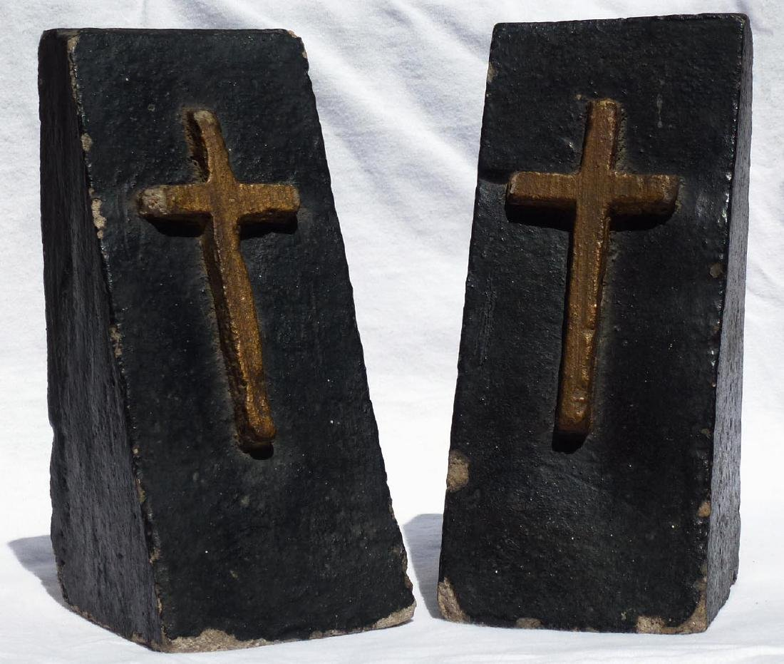 Pr. Folk Art concrete bookends with gold crosses