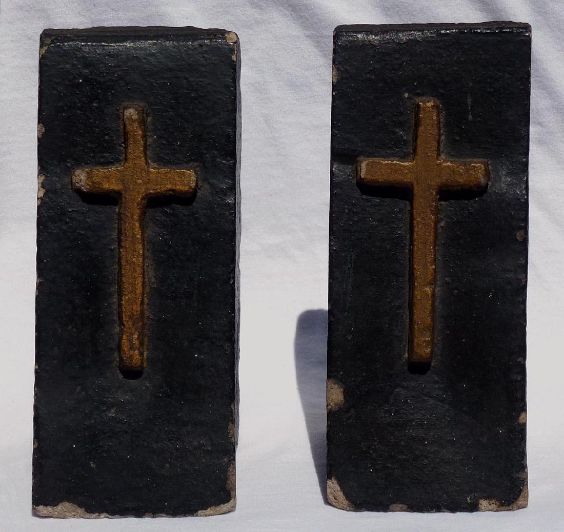 Pr. Folk Art concrete bookends with gold crosses - 3