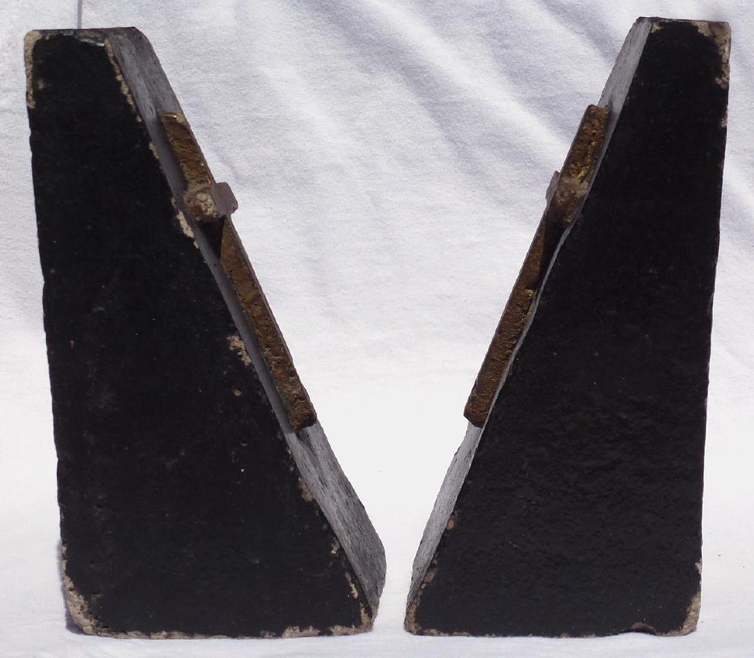 Pr. Folk Art concrete bookends with gold crosses - 4