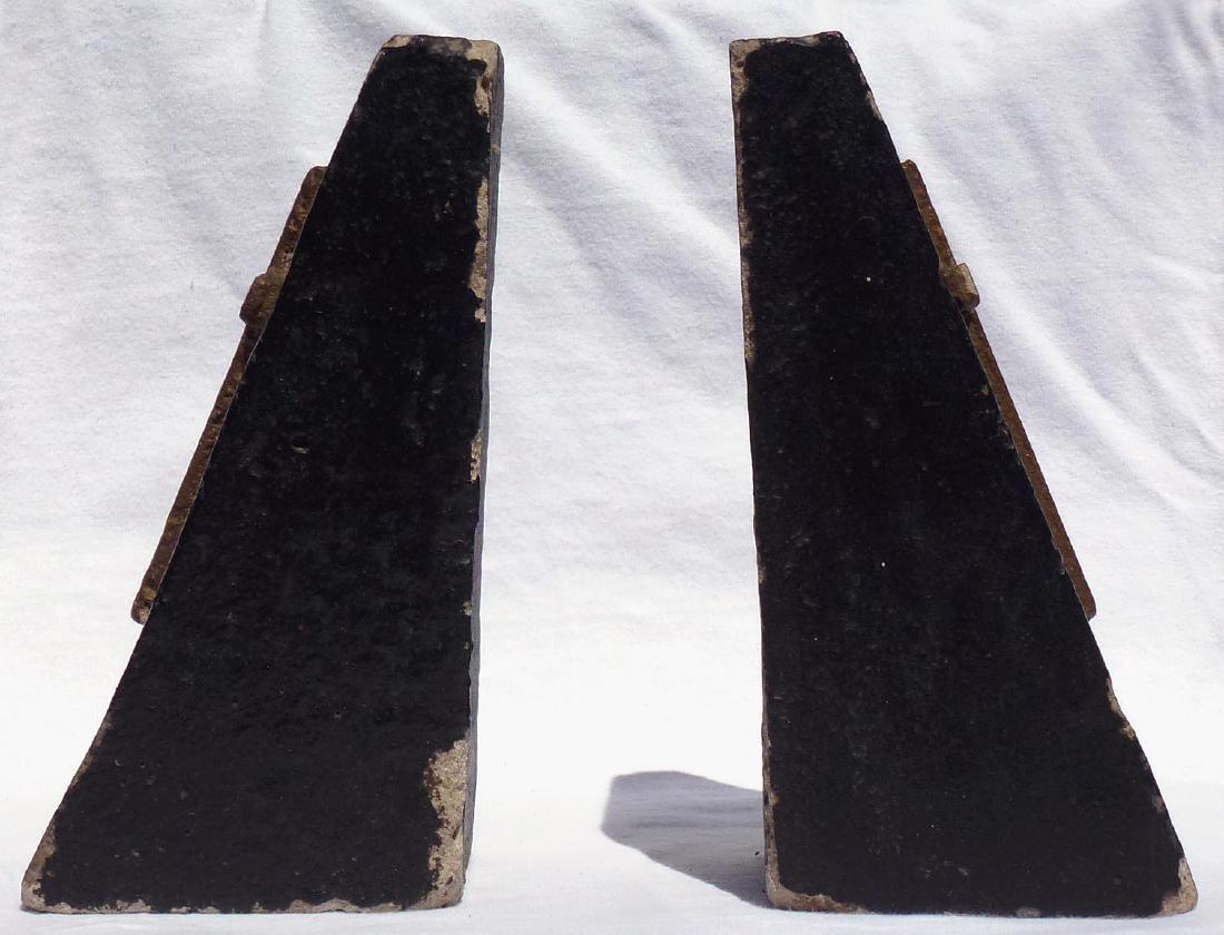 Pr. Folk Art concrete bookends with gold crosses - 5