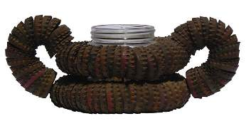 Folk Art two-handled bottle cap basket