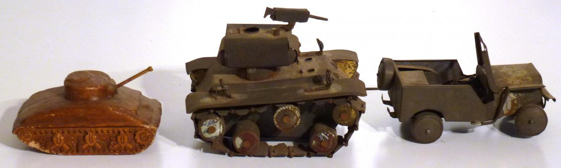 Trench art  P.O.W.  jeep and tank & 2nd  tank