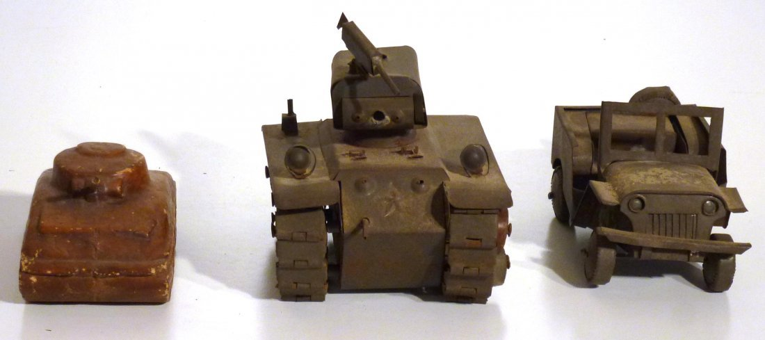 Trench art  P.O.W.  jeep and tank & 2nd  tank - 2