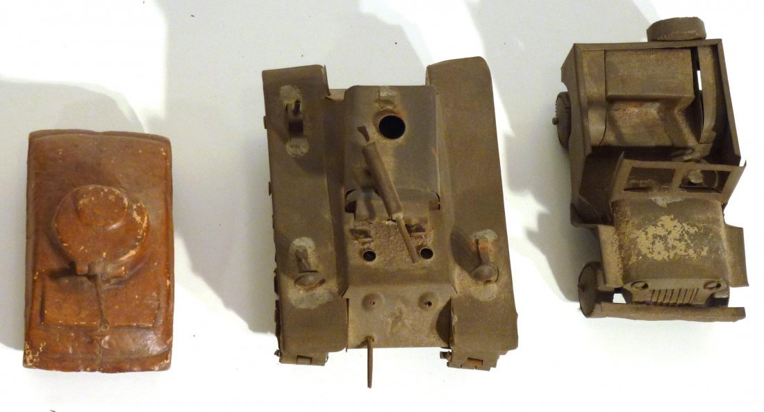 Trench art  P.O.W.  jeep and tank & 2nd  tank - 3