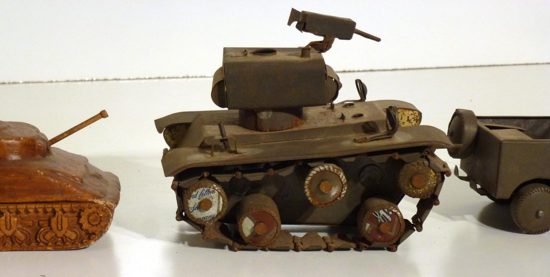 Trench art  P.O.W.  jeep and tank & 2nd  tank - 4