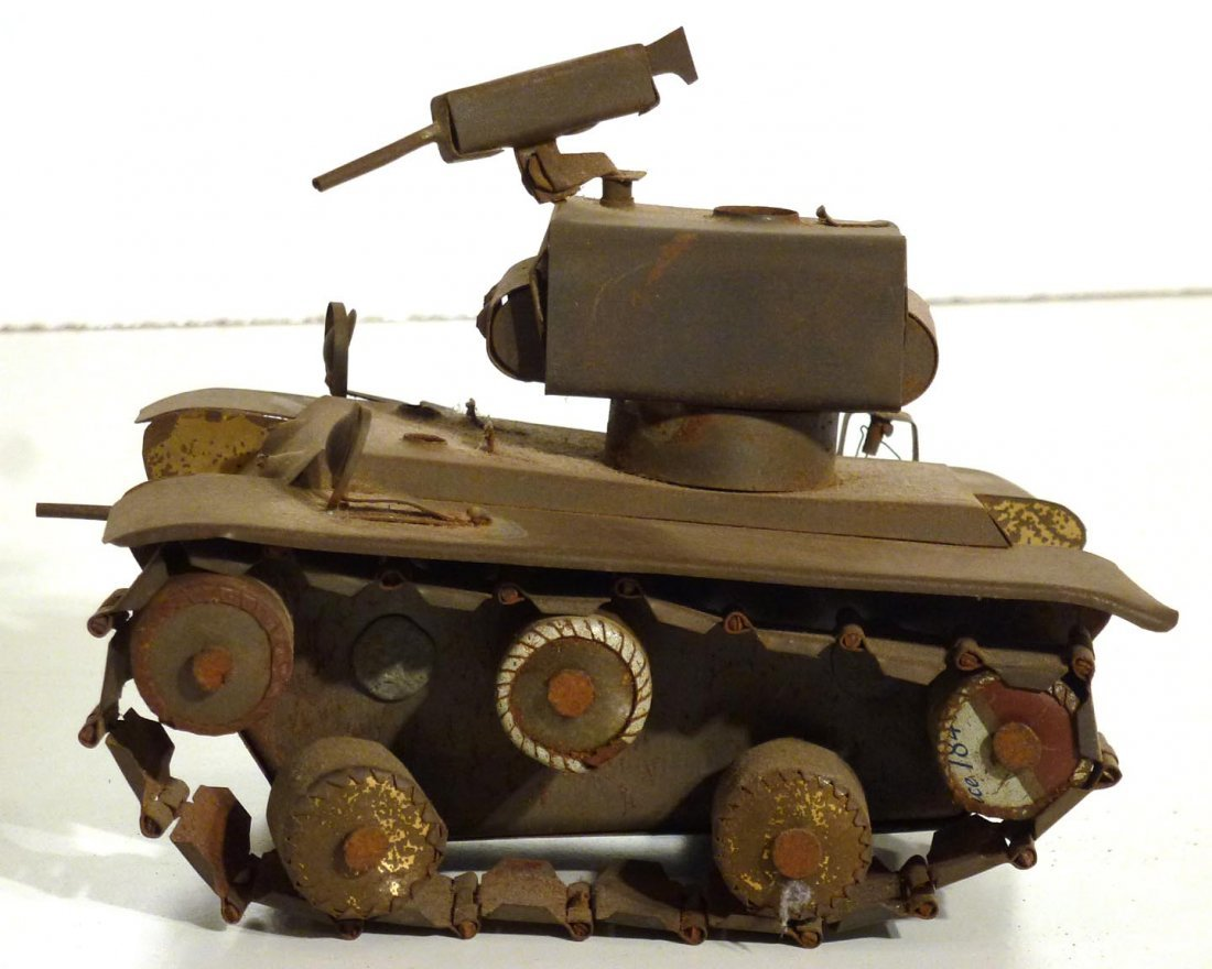 Trench art  P.O.W.  jeep and tank & 2nd  tank - 5