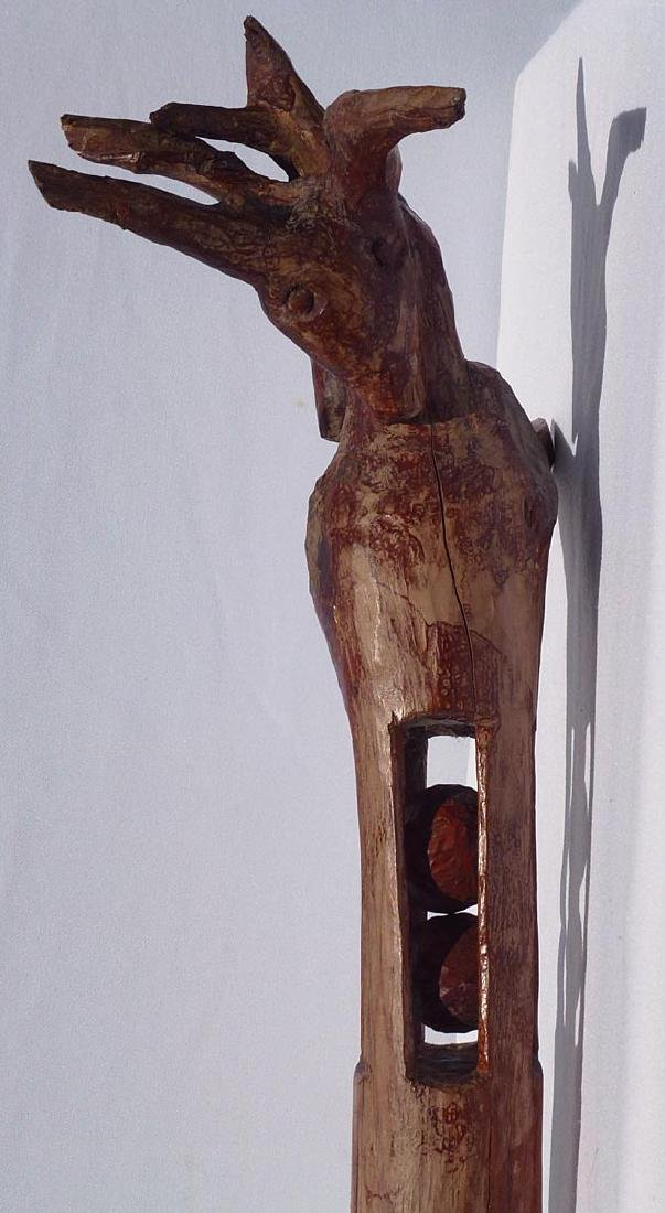 Whimsey  carved  staff w/animal head and balls