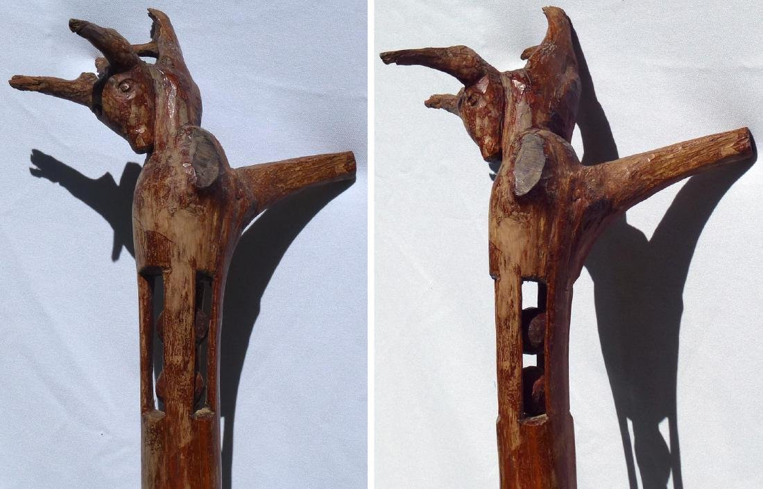 Whimsey  carved  staff w/animal head and balls - 4