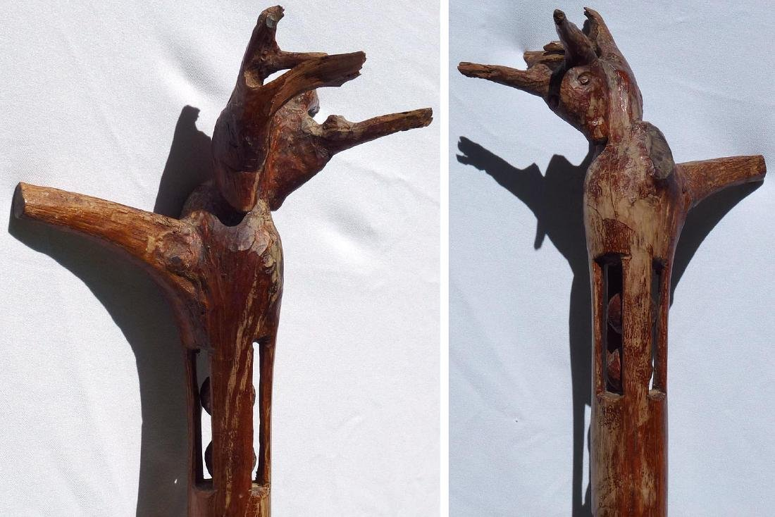 Whimsey  carved  staff w/animal head and balls - 8