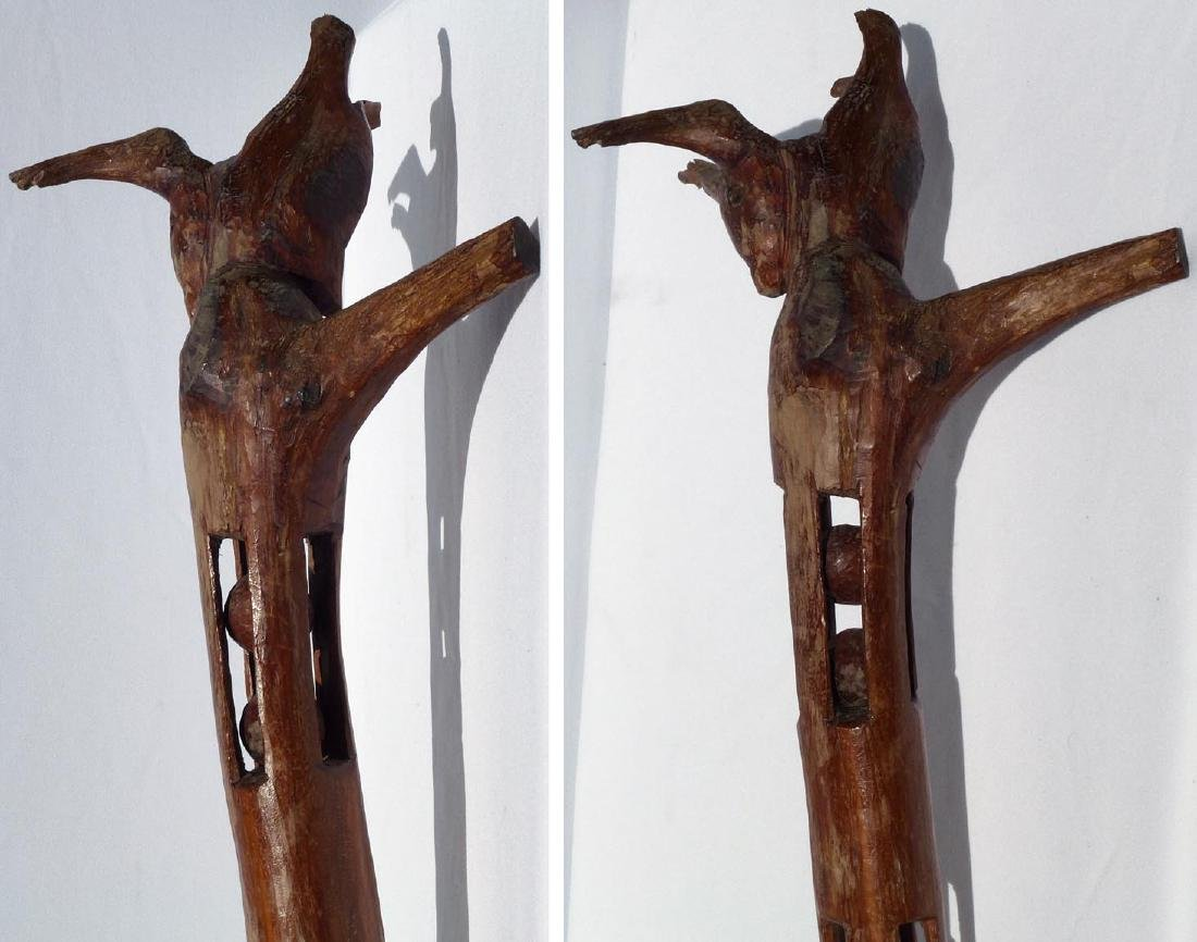 Whimsey  carved  staff w/animal head and balls - 9