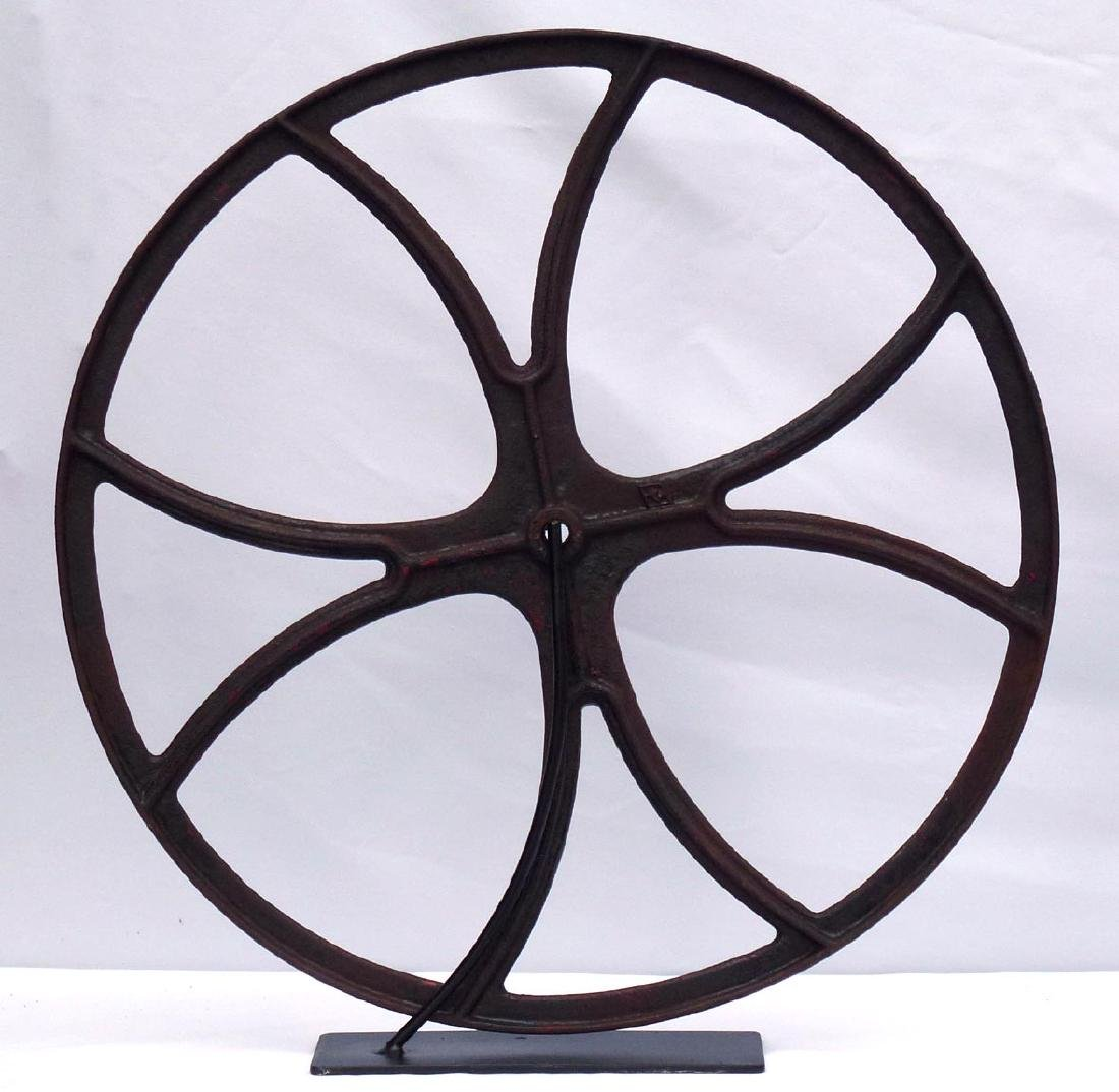 Large Cast iron industrial fire truck hose reel