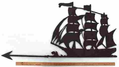 Folk Art Sheet iron weathervane 3-masted ship